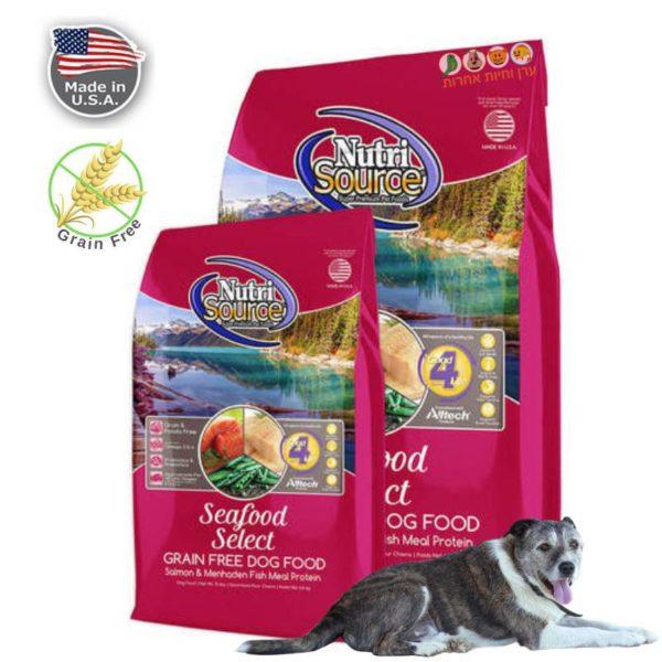 מזון לכלבים ללא דגנים, פירות ים וסלמון