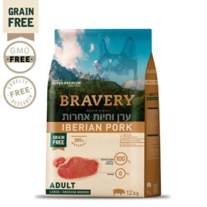 שק מזון ברייברי לכלבים בוגרים בטעם חזיר איברי