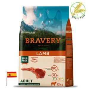 BRAVERY מזון לכלבים גדולים בטעם כבש