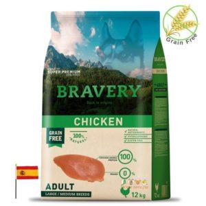 BRAVERY שק מזון בטעם עוף לכלבים גדולים