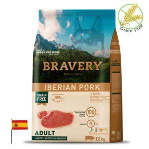 שק מזון לכלבים מגזע גדול בטעם חזיר, bravery