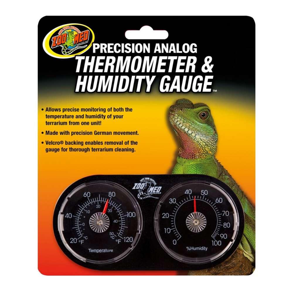 מכשיר אנלוגי לטטריום זוחלים המשלב מד טמפרטוה ומד לחות
