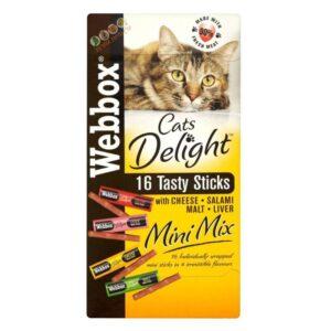 חטיף לחתולים מיני מקלות בטעמים שונים, WEBBOX