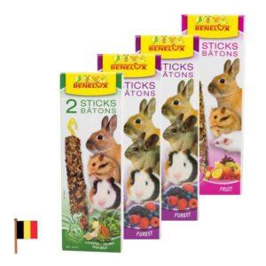4 חבילות של חטיפים לארנבים ושרקנים של חברת בנלוקס