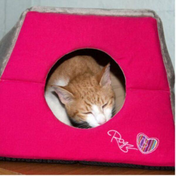 חתול ישן בתוך מיטה בצורת איגלו