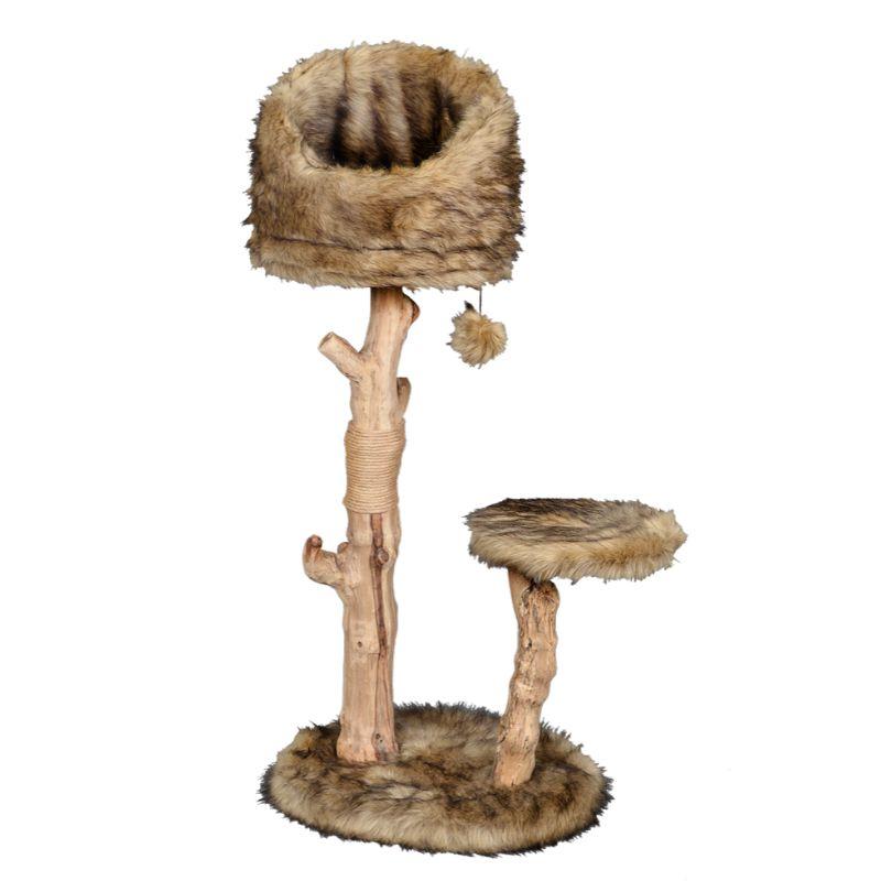 מתקן גירוד ומשחק לחתולים עשוי מעץ טבעי חזק, פטקס