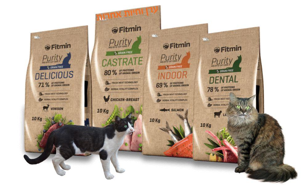 חתולים ליד שקי מזון של פיטמין פיוריטי