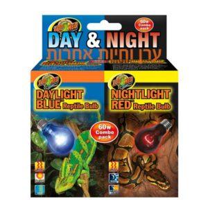 אריזה משולבת של 2 נורות לאור יום ואור לילה לזוחלים