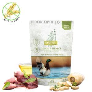 מזון טבעי ללא דגנים לכלבים בשר ברווז