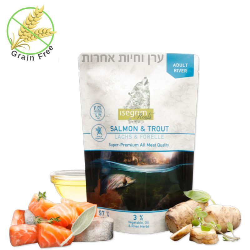 אריזת מזון טבעי לכלבים בשר דג סלמון ופורל