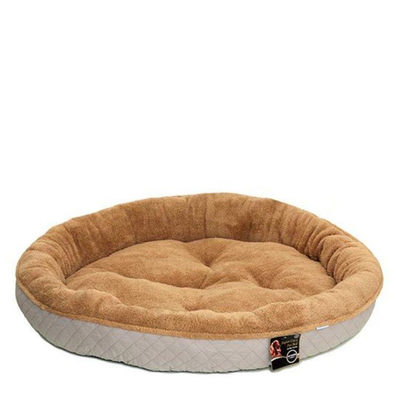 מיטה עגולה לכלבים מגזע גדול בצבע לבן