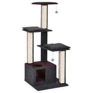 מתקן גירוד גדול לחתולים עם 3 קומות וחבלי משחק
