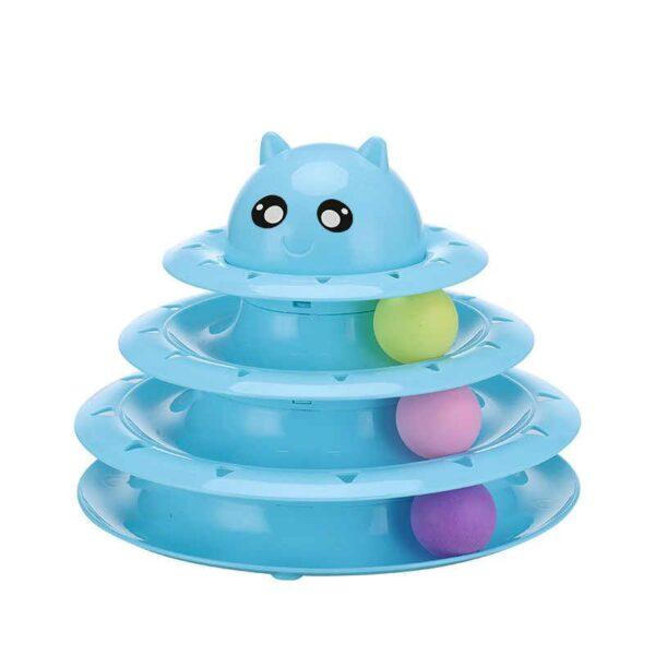 צעצוע מגרה לחתולים עם שלושה כדורים בצבע כחול
