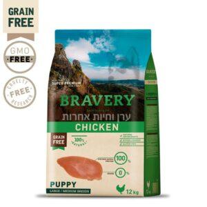 שק מזון בטעם עוף לגורי כלבים מגזע גדול של ברייברי