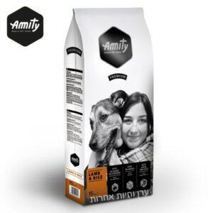 שק מזון לכלבים בטעם בשר כבש של חברת AMITAY