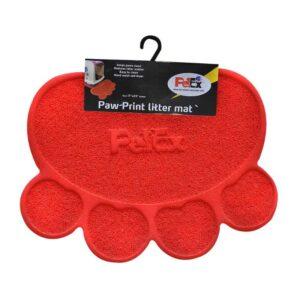 שטיח לשירותים של חתולים בעיצוב כף רגל בצבע אדום