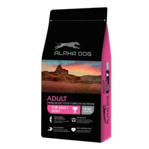 """מזון לכלבים ALPHA DOG בטעם עוף במשקל 22.6 ק""""ג"""