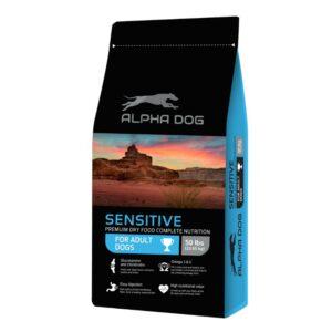 """מזון לכלבים רגישים ALPHA DOG בטעם דגים במשקל 22.6 ק""""ג"""