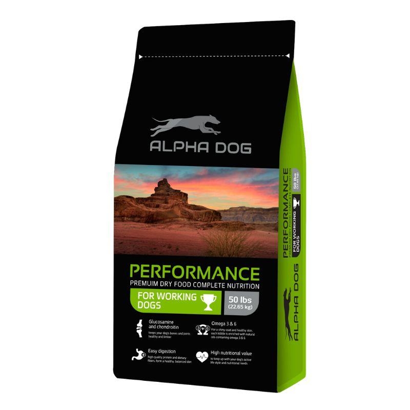 """מזון לכלבים פעילים אלפא דוג בטעם עוף במשקל 22.6 ק""""ג"""