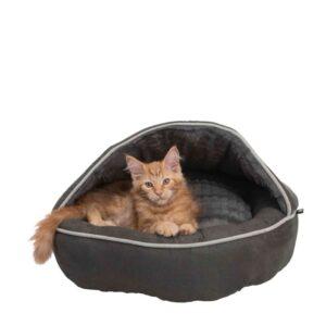 חתול ג'ינג'י יושב במיטה בצורת מערה של טריקסי